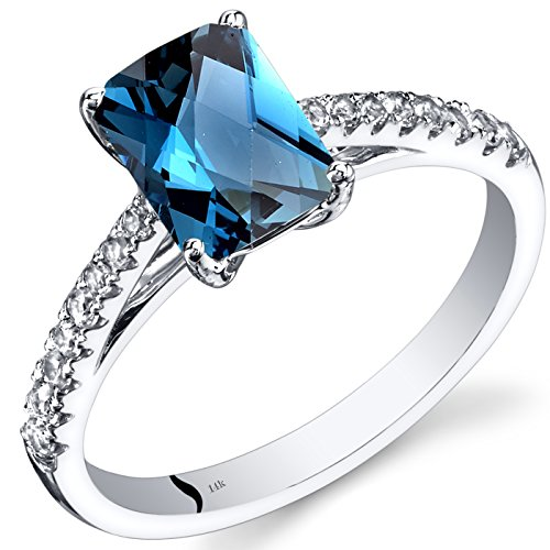 (14K White Gold London Blue Topaz Ring Radiant Cut 1.75 Carats Size 7)
