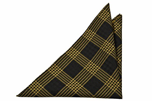 Notch Men's Silk Pocket Square - ALBIN - Yellow checked pattern on a black - Square Pattern Checked Pocket