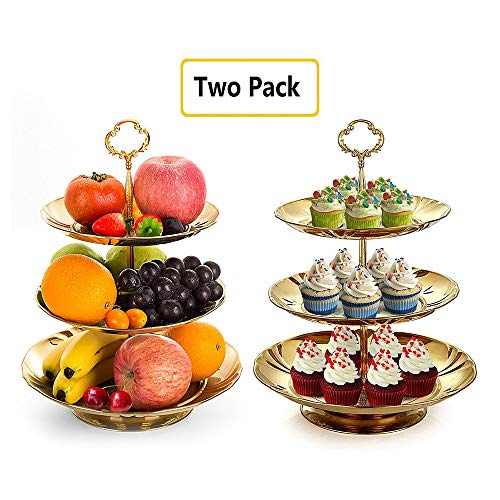 (Two Set of Three Tier Cake Stand and Fruit Plate by Imillet -Stainless Steel Stand of Golden for Cakes Desserts Fruits Candy Buffet Stand for Wedding &Home&Party Serving Platter (2)