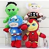 The Avengers Hulk Thor Captain America Iron Man Plush Stuffed Animals Doll Kids Toys 4pcs/set