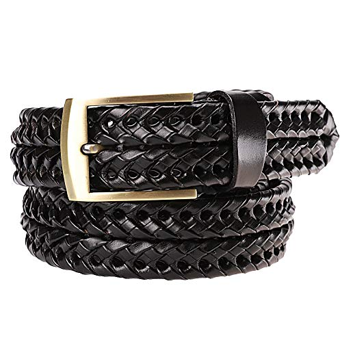 Earnda Men's Braided Belt Leather Woven Genuine Leather Belt For Men With Pin Buckle Black 35mm, L- fits waist from 37.5