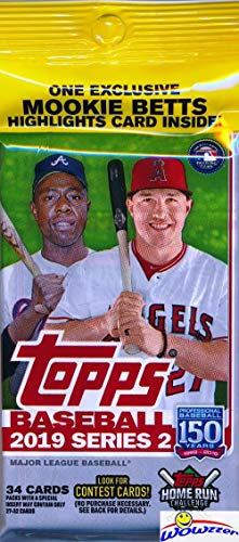 2019 Topps Series 2 MLB Baseball HUGE EXCLUSIVE Factory Sealed JUMBO FAT Pack with 34 Cards! Look for Rookies & Autos of Pete Alonso, Vladimir Guerrero Jr, Fernando Tatis, Eloy Jimenez & More!WOWZZER! ()