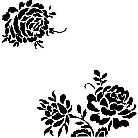 IDEA - Plantilla para tartas de café, diseño de flores, para pintar con aerógrafo