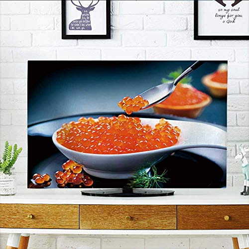 Philiphome TV dust Cover Caviar red Caviar in Spoon on a Black Background Gourmet Food TV dust Cover W19 x H30 INCH/TV 32