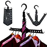 Clothes Hanger, Essort 5 PCS Closet Complete Multifunction Dual Magic Foldable Hanger for Clothes Shirts Sweaters Coat Organizer Dress Hanger Hook Drying Rack