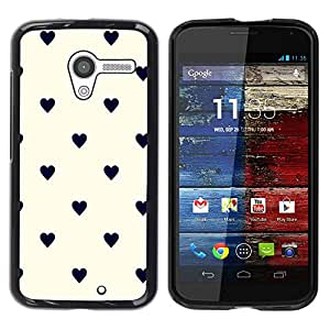 Paccase / SLIM PC / Aliminium Casa Carcasa Funda Case Cover para - Pastel White Hearts Black Classy - Motorola Moto X 1 1st GEN I XT1058 XT1053 XT1052 XT1056 XT1060 XT1055