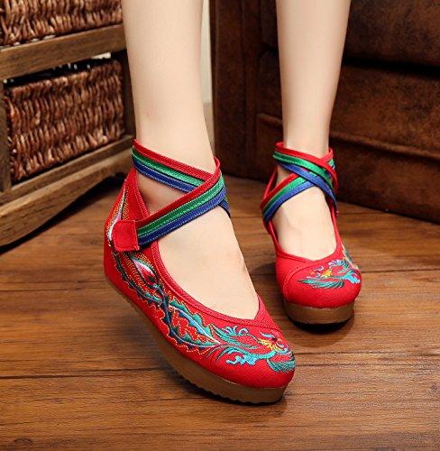 YDA- Die gestickten Schuhe der Frauen KAFEI Lady Bestickt New Oxford Weichen Boden Erhöhen Tuch Tägliche Freizeitaktivitäten Runden Kopf 3-5 cm Hohem Absatz, Schwarz, 40