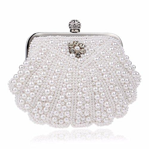 Moda Borsa Puro Bianco Pochette E Da Xjtnlb Banchetto Europee Riso Sera Perline Di Americane Perla Signore X5wZqZ