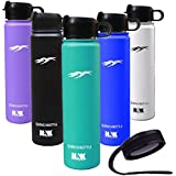 NAK Fitness Quench Bottle 24oz. Two Lids BPA Free Double Wall Vacuum Insulated Stainless Steel Water Bottle