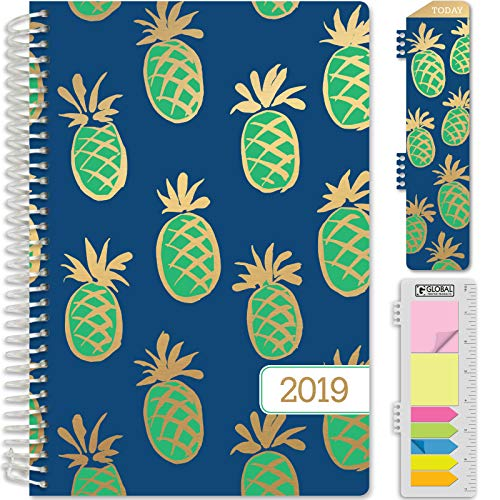 HARDCOVER Calendar Year 2019 Planner: (November 2018 Through December 2019) 5.5x8 Daily Weekly Monthly Planner Yearly Agenda. Bonus Bookmark, Pocket Folder and Sticky Note Set (Pineapples - Blue)