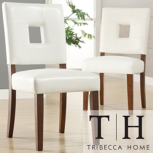 Metro Shop TRIBECCA HOME Calvados Faux Leather White Side Chairs (Set of 2) Metro Side Chair 2 Chairs
