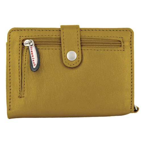 Travelon Leather Wallet/Wristlet in One (Gold) from Travelon