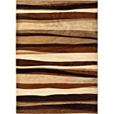 Home Dynamix Tribeca Jayden Area Rug | Contemporary Living Room Rug | Abstract-Striped Patterns | Soft and Cozy Texture | Brown 39″ x 55″ Review
