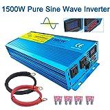 LVYUAN Pure Sine Wave Power Inverter 1500W / 3000W (Peak) Car Caravan RV Camping Boat DC 12V Inverter Soft Start 12V DC to AC 110V DC 12V Inverter Converter with LCD Display