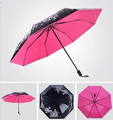 MEIREN Enhanced UV vinyl folding umbrella 30 percent creative cherry blossom Sakura umbrella light umbrella girl Sun umbrella , rose (Cent Cherry)