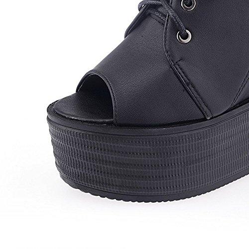 AllhqFashion Mujeres Cuero Sólido Cordones Peep Plataforma Sandalia Negro