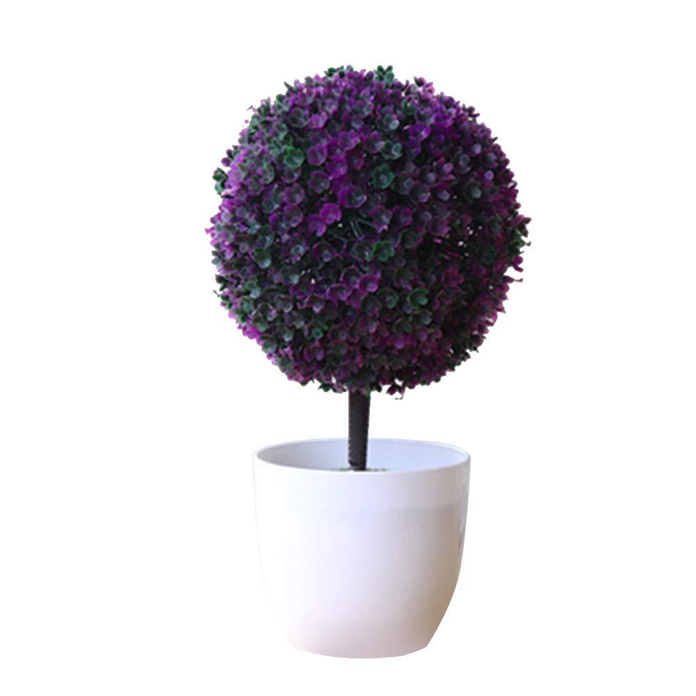 Topiary Mini Arbre Artificielles avec Pot en M/élamine pour D/écoration Ornement Artificielle Topiaire Pot Plantes Jardin D/écoration Boule de buis Plante Artificielle avec Pot en c/éramique Oyfel