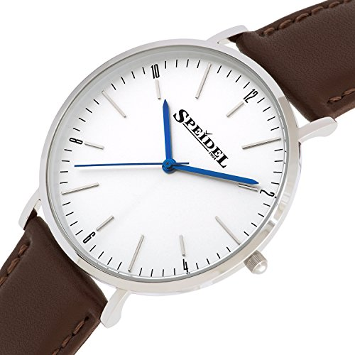 Speidel Men's Slim Watch with Simple Classic Pearl White Dial, Ultra Thin Stainless Steel Case, 3 Hand Quartz Movement, Genuine Brown Leather Band and Water Resistant to 99ft by Speidel (Image #1)'