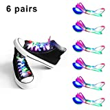 Mrupoo LED Light Multicolor Shoelaces Battery Powered Nylon Shoestring Lighting The Night for Party Hip-Pop Dancing Cycling Running Walking (6 pairs)