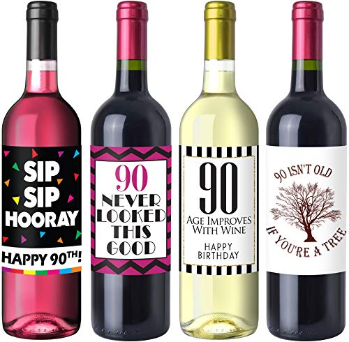 Chic 90th Birthday Wine Label Pack - Birthday Party Supplies, Ideas and Decorations - Funny Birthday Gifts for Women -