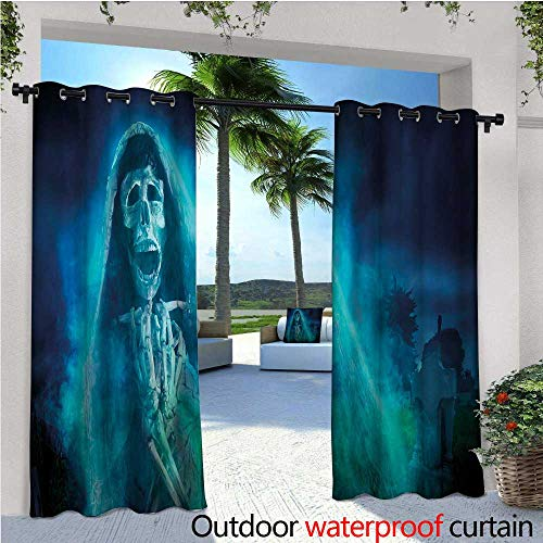 Halloween Outdoor- Free Standing Outdoor Privacy Curtain Gothic