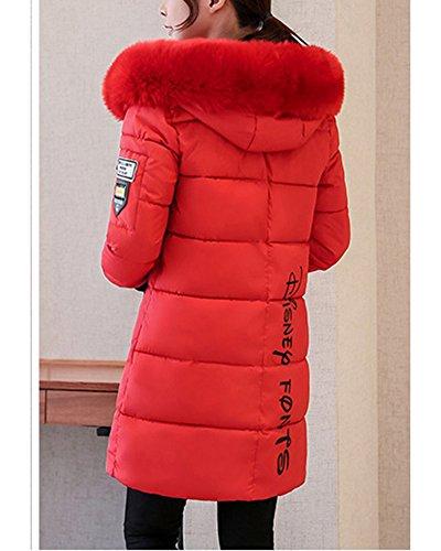 Longue Slim Manteau Coton Section Duvet En Rouge Veste Femme Gros Col Élève 4wxq8q5f