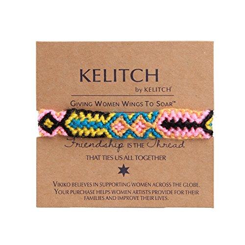 KELITCH Pink/Yellow Blue Woolen Threads Handmade Braided Friendship Bracelet