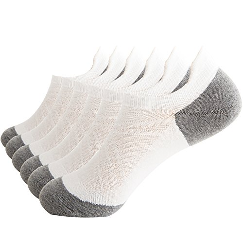 Areke Mens Cotton Low Cut No Show Casual Non-Slide Atheltic Socks,Sport Mesh Ankle Soxs Color 6Pack Grey Size US Shoe Size 6-12