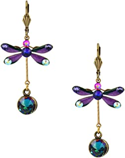 product image for Anne Koplik Gold Plated Multicolor Crystal Tall Enamel Dragonfly Dangle Earrings