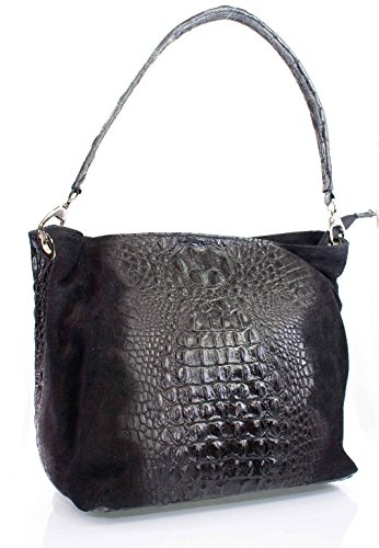f790840f1a79e Echt Leder Wildleder Handtasche Kroko Optik Damentasche Schultertasche  schwarz