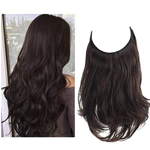 Dark Brown Hair Extension Halo Wavy Curly Synthetic Hairpiece Long 18 Inch 4.2 Oz Adjustable Transparent Wire Headband…