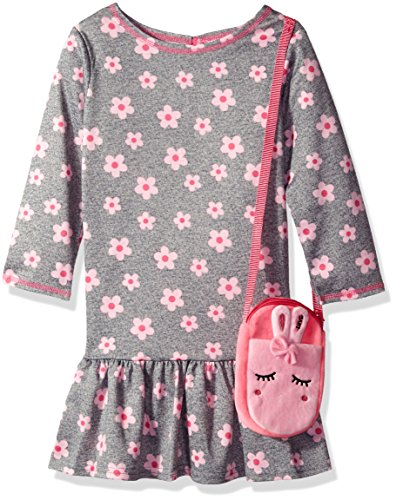 Youngland Little Girls' Three Quarter Sleeve Floral Print Pleated Ponte Purse Dress, Grey/Pink, 2