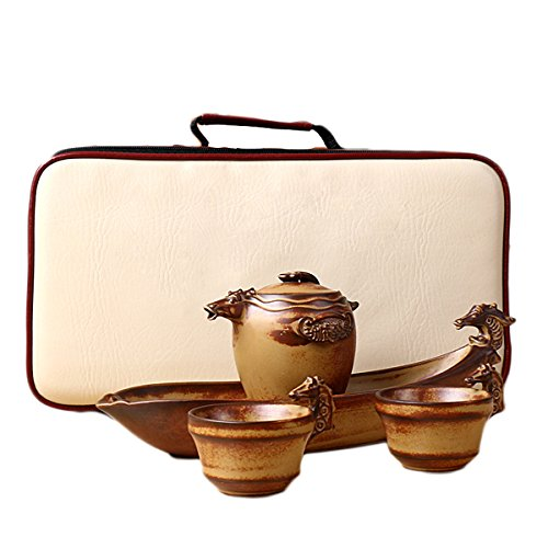 5pcs Chinese Folk Countryside Pottery Clay Tea Set 1 Tea Pot 2 Cups 1 Tea Tray 1 Travel Pack Handbag Horse Pattern