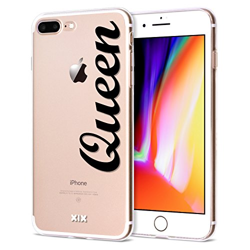 iPhone 7 Plus Case Queen Slim Fit Black Shockproof Bumper Cheap Cell Phone Accessories Queen & King Design Thin Soft TPU Protective Cover for Women Apple iPhone 8 Plus Cases Luxury for Girls