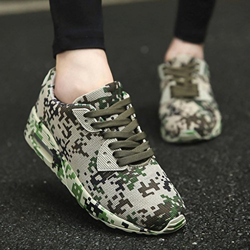 FNKDOR Unisex Sneaker Herren Damen Laufschuhe Camouflage Sportschuhe Sport Fitness Turnschuhe Armeegrün