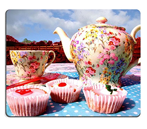 Liili Mouse Pad Natural Rubber Mousepad IMAGE ID: 5646978 Vintage tea pot cup saucer and cakes arranged on a table outside (6