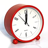 clock table - Bidason Alarm clock, Cube Office Desk Clock, No Ticking Noise Modern Cool Alarm Clocks for Bedrooms with Night Light, Battery Operated Travel Clock, Easy to set, Ideal Gift for Kids (Red)