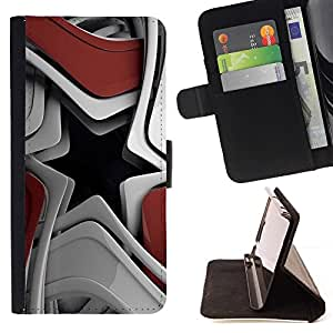 For HTC One M8 Case , Resumen Forma de Estrella- la tarjeta de Crédito Slots PU Funda de cuero Monedero caso cubierta de piel