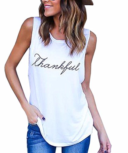 Roundeel Clearance Summer Sexy Casual Thankful Letter Printed Boyfriend Tank Tops Vest Top for Women