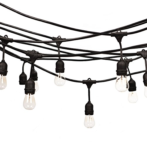 [Fulelight Outdoor String Lights of Heavy Duty Weatherproof Lighting Strands with Edison incandescent String Lights for Patio,Connectable 48-Foot Includ 15 Bulbs UL Certification] (Strand Lighting Light)