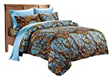 Super King Comforters and Bedspreads 20 Lakes Super Soft Microfiber Camo Comforter Spread (King, Powder Blue)
