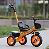 trolley ankle - Cuicui Tricycle Child Balance Bike Protection, Hand Push, Stack Pedal Green Material 1-6 Year Old Baby Tricycle,Orange