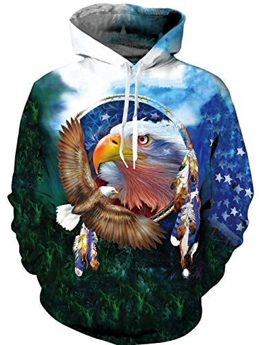 - Teen Boys America Print Eagle Hoodie Funny Unisex Long Sleeve Casual Sweatshirt Hooded Large