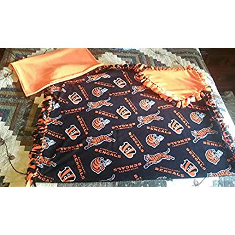 Cincinnati Bengals Fleece Blanket And Pillowcase Crib Set 4