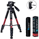 """BONFOTO Tripod Q111 55"""" Flexible Travel Camera Tripod with 3-Way Pan Head and Phone Holder Mount for Gopro,Projector,Smartphones Tablet to Live Broadcast and DSLR EOS Canon Nikon Sony Samsung(Red)"""