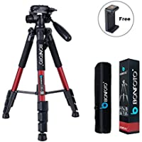 BONFOTO Q111 55 Flexible Lightweight Travel Camera Tripod 4s Stand with 1/4 Mount 3-Way Pan Head and Phone Holder Mount for Smartphones and DSLR EOS Canon Nikon Sony Samsung(Red)