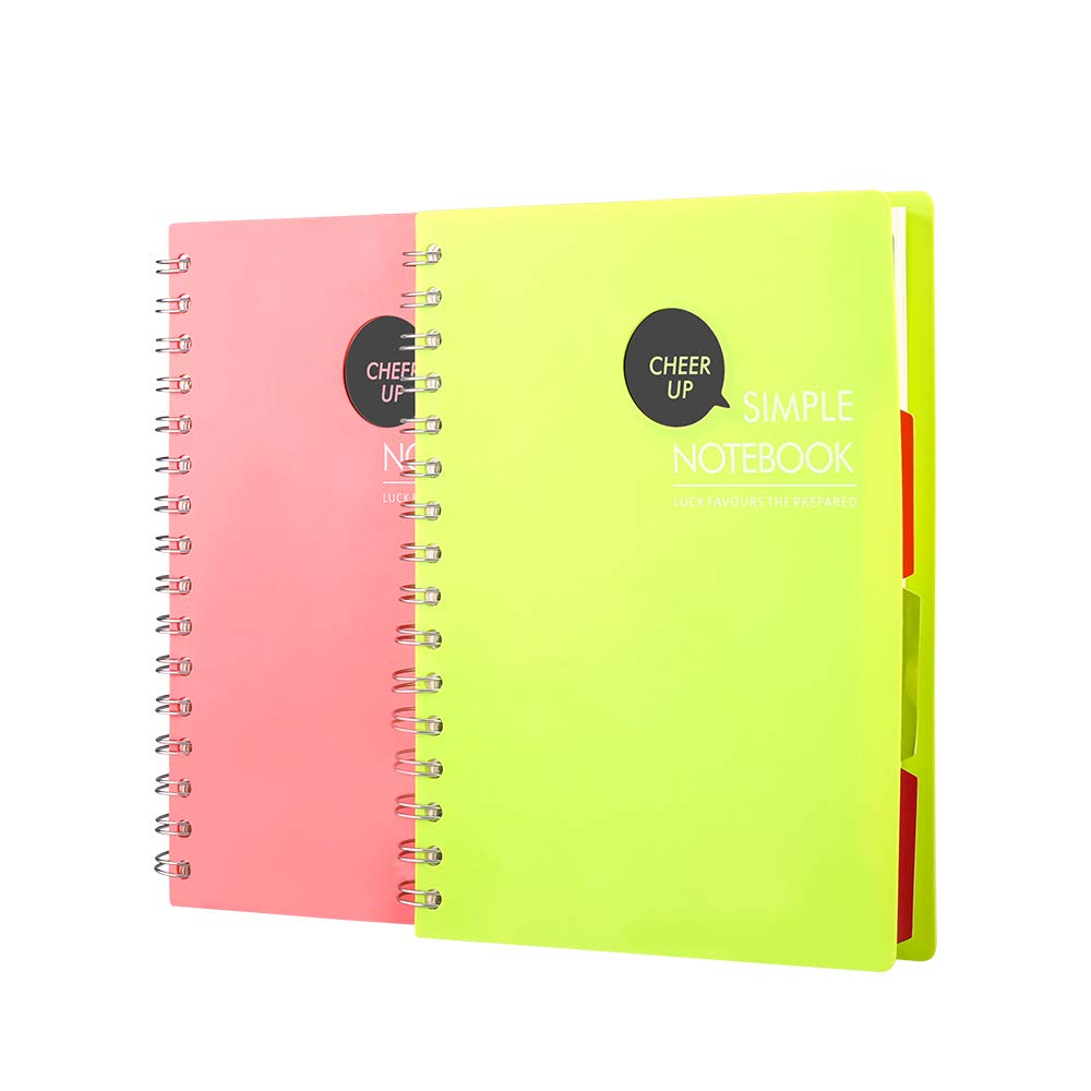 Spiral Notebook, 4 Subject Notebook, A5 Spiral Bound Notebooks, PP Hardcover, Each 240 Pages - 2 Pack (Pink + Green)
