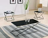 Kings Brand Furniture Coylin Glass Cocktail Coffee Table & 2 End Tables (Set of 3), Chrome