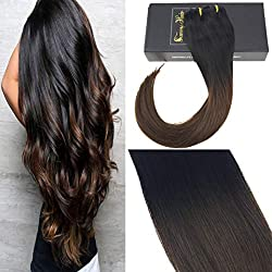 "Sunny 18"" Dark Brown Ombre Balayage Hair Extensions Best Clip in Straight Hair Extensions Full Head Set #IB Natural Black Fading to #4 Dark Brown Clip on Hair Extensions 7 Pcs 120 Gram"