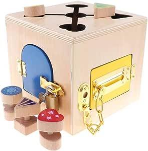 B Blesiya Juguete de Caja de Cerradura Cubo de Bloqueo Madera Colorido Juego para Desarrollo de Coordinación de Mano-Ojo de Niños: Amazon.es: Juguetes y juegos